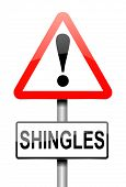 picture of shingles  - Illustration depicting a sign with a Shingles concept - JPG