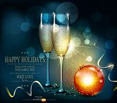 vector romantic christmas background with two glasses and christmas balls