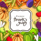 stock photo of brinjal  - Beautiful Happy Thanksgiving Day celebration concept with fruits and vegetables on yellow with note for your wishes - JPG