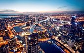 stock photo of cbd  - A view of Melbourne at night Victoria Australia - JPG