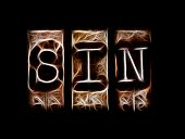 stock photo of sinful  - Sin concept in abstract type on black - JPG
