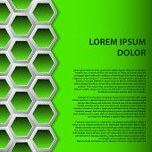 picture of hexagon  - Abstract brochure background design with green hexagons - JPG