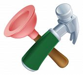 stock photo of plunger  - Crossed plunger and hammer tools icon of cartoon tools crossed construction or DIY or service concept - JPG