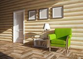 pic of chalet interior  - modern interior of wooden house with door - JPG