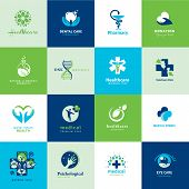 stock photo of fish icon  - Set of vector flat icons for medicine and healthcare - JPG