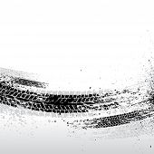 picture of skid  - Black tire track background - JPG