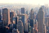stock photo of skyscrapers  - New York City skyscrapers in midtown Manhattan aerial panorama view in the day - JPG
