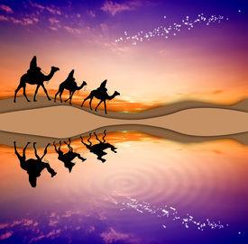image of magi  - illustration of Magi Kings following the star of Bethlehem - JPG