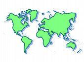 foto of land-mass  - Schematic world map in green isolated on a white background - JPG