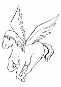 stock photo of pegasus  - Outlined illustration of a pegasus for coloring - JPG