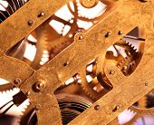 stock photo of wind up clock  - Close up of an internal clock mechanism - JPG