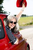 picture of ling  - Senior happy woman with vintage car - JPG