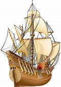 foto of historical ship  - ancient sealing caravel ship with open sails - JPG