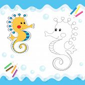 picture of seahorses  - Cartoon seahorse isolated on white - JPG