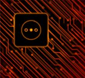 picture of processor socket  - Socket on the background of circuit board - JPG