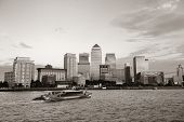 picture of canary  - Canary Wharf business district in London black and white - JPG