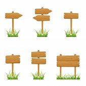 pic of stick-bugs  - Set of wooden signs in a grass isolated on white background - JPG