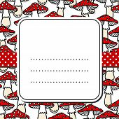 foto of toadstools  - Toadstool mushrooms white beige red autumn seamless pattern on white background with retro frame on red dotted ribbon seasonal card - JPG