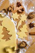 stock photo of biscuits  - baking cookies and biscuits for christmas - JPG