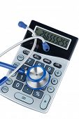 foto of auscultation  - stethoscope and calculator - JPG