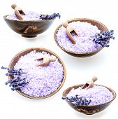 picture of salt-bowl  - Set of lavender bath salt in bowl isolated on white background - JPG