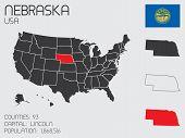 stock photo of nebraska  - A Set of Infographic Elements for the State of Nebraska - JPG