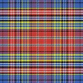 stock photo of kilt  - vector seamless pattern Scottish tartan black white blue yellow red - JPG