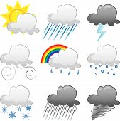 picture of hurricane clips  - Vector Illustration of 9 cloud weather Icons - JPG