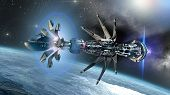 stock photo of alien  - Futuristic military spacecraft with a warp drive in the initiating state - JPG