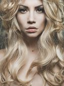pic of perm  - Photo of beautiful woman with magnificent blond hair - JPG