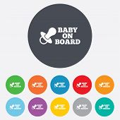 foto of nipple  - Baby on board sign icon - JPG