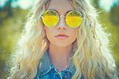 foto of hippy  - Fashion portrait of young hippie woman in summer sunny day - JPG