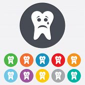 pic of bad teeth  - Tooth sad face with tear sign icon - JPG