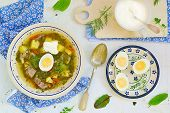 pic of sorrel  - Sorrel egg and sour cream soup in a plate on a table - JPG