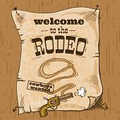 stock photo of wild west  - Wild west cowboy hand drawn rodeo poster with gun and lasso vector illustration - JPG