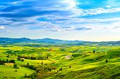 image of farm landscape  - Tuscany rural sunset landscape - JPG