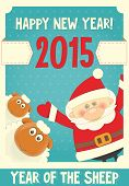image of sheep  - New Year Card with Cute Cartoon Sheep and Santa Claus - JPG