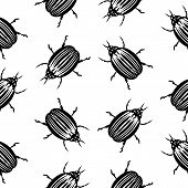 picture of potato bug  - Bug symbol seamless pattern on white background - JPG