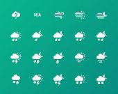 stock photo of sandstorms  - Weather icons on green background - JPG