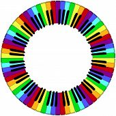 picture of rainbow piano  - round piano keyboard frame in rainbow colors - JPG