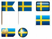 picture of sweden flag  - Sweden flag set on a white background - JPG