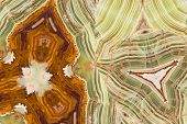 stock photo of agate  - Onyx mineral variety of agate with alternating layers of different colors - JPG