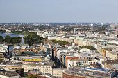 stock photo of outer  - View over Hamburg Germany to the Inner and Outer Alster - JPG