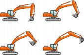 stock photo of excavator  - Detailed illustration of excavators heavy equipment and machinery - JPG