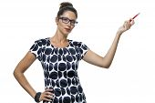 picture of ballpoint  - Portrait of Serious Woman with Eyeglasses Wearing a Printed Dress Holding a Red Ballpoint Pen - JPG