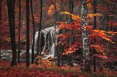 image of crimea  - Beautiful waterfall in autumn forest - JPG