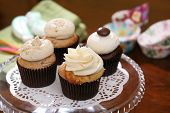 pic of sugarpaste  - Gourmet cupcakes baked and frosted with icing vanilla - JPG