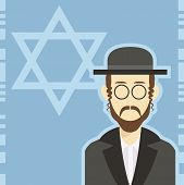 picture of rabbi  - Vector cartoon of a icon with an jew - JPG
