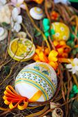 stock photo of bird egg  - Easter composition with eggs bird ribbons and flowers in nest  - JPG