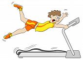 pic of treadmill  - vector illustration of a too fast treadmill workout - JPG